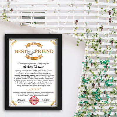 Personalized Certificate for Best Friend - THD-The Happy Dreams