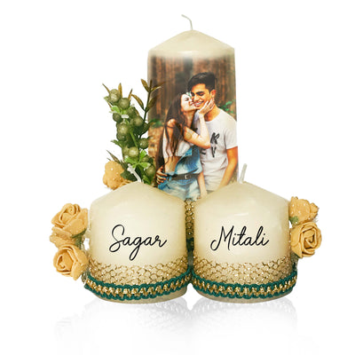 Customized Candles with Photos & Name (Set of 3) - THD-The Happy Dreams