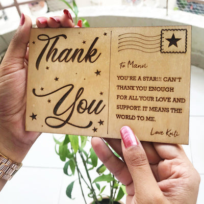 Thank you Wooden engraved Card - THD-The Happy Dreams
