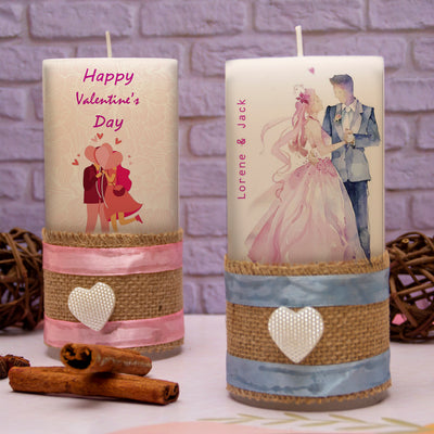 Personalised Candles- Valentine's Day Love - Set of 2 - THD-The Happy Dreams