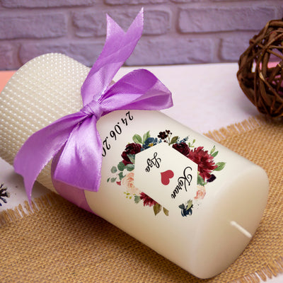 Personalised Candle- Florals Love - THD-The Happy Dreams