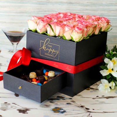 Black Flower Box with Drawer - Luxury Cube - THD-The Happy Dreams