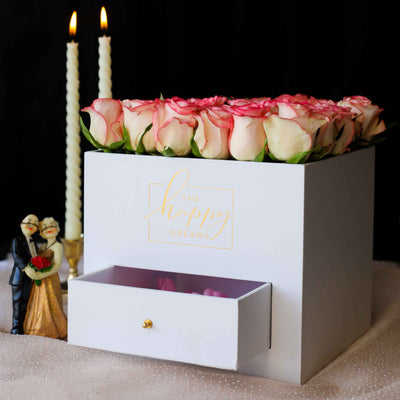 White Flower Box with Drawer - Luxury Cube - THD-The Happy Dreams