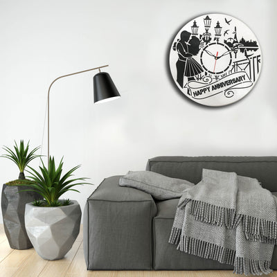Wooden Personalised Anniversary Wall Clock | Wooden Wallclock | Happy Anniversary
