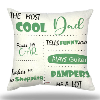 The Happy Dreams Personalized Cushion Cover with Filler | The Most Cool Dad | Gifts for Dad | Father's day Gift | Gifts for Papa Daddy Birthday Gift for dad (12 x 12 inches)