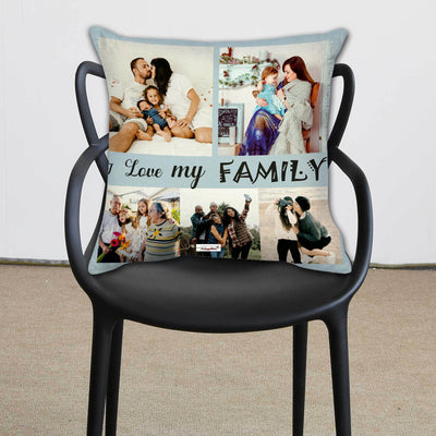 The Happy Dreams Personalized Cushion Cover with Filler | I Love My Family | Gifts for family member | Gifts for loved ones (12 x 12 inches)