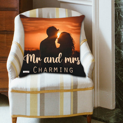 The Happy Dreams Cushion Cover with Filler | Mr and Mrs Charming | Gifts for Lover | Valentine's day Gift | Gifts for Boyfriend Girlfriend (12 x 12 inches)