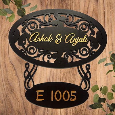 Personalised Wooden Name Plate | Name-Surname-Address - THD-The Happy Dreams