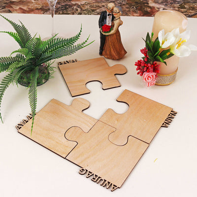 Personalized names Cut Out Wooden Jigsaw Coasters - THD-The Happy Dreams