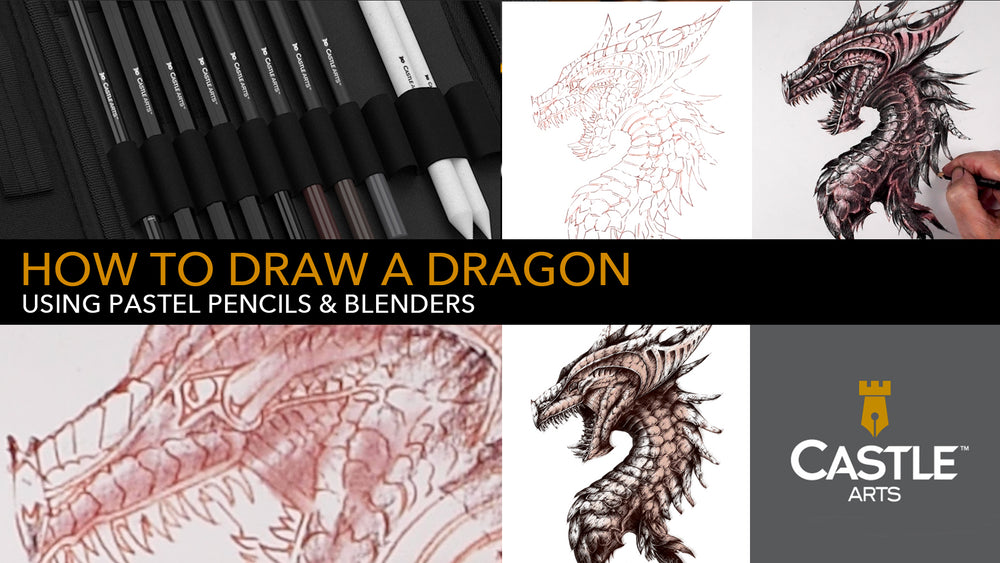 How to Draw a Dragon Using Pastel Pencils & Blender