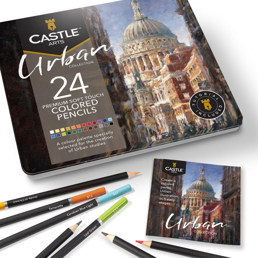 Load image into Gallery viewer, 24 Piece Urban Colored Pencil Set in Display Tin