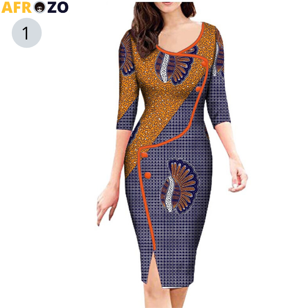 African spring three quarter sleeve with button decoration dress - afrozo