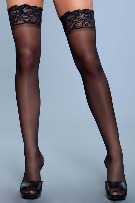 Stay Up Spandex Sheer Thigh Highs With Silicone Lace Top
