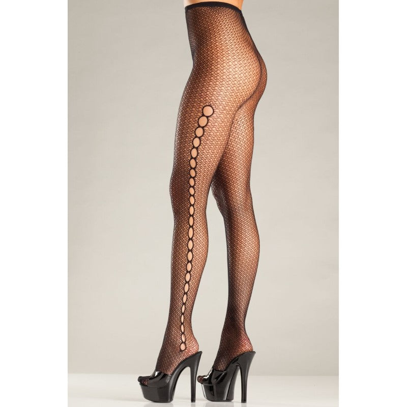 Seamless Fishnet Pantyhose With Keyhole Sides