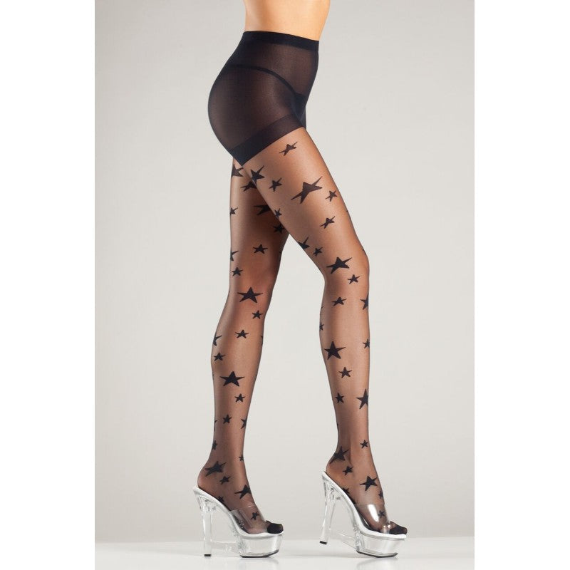 Sheer Pantyhose With Woven Stars