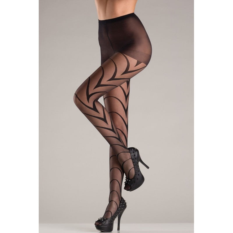 Sheer Pantyhose With Deco Art Lines