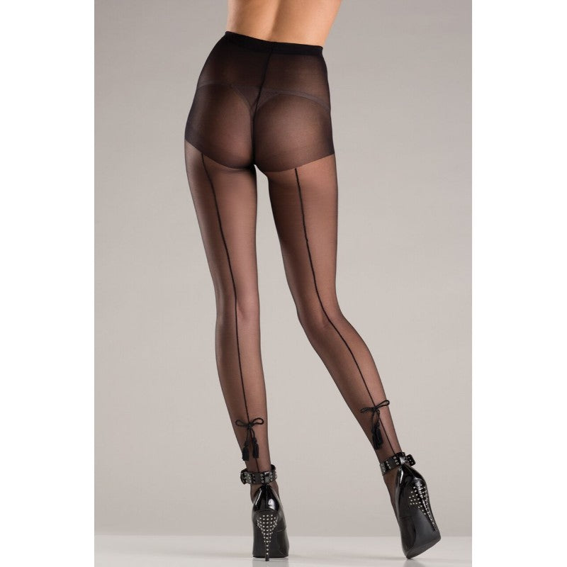 Sheer Back Seam Pantyhose With Tassel Bow