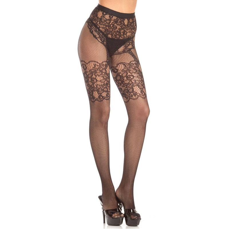 Crotchless Fishnet & Lace Pantyhose