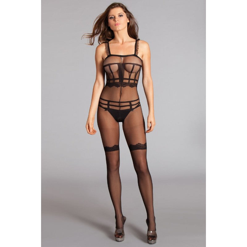 Ruffle Shoulder Strap Crotchless Sheer Bodystocking