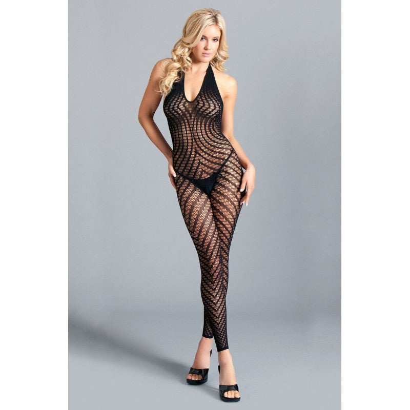 Crotchless Halter Bodystocking With Low Back