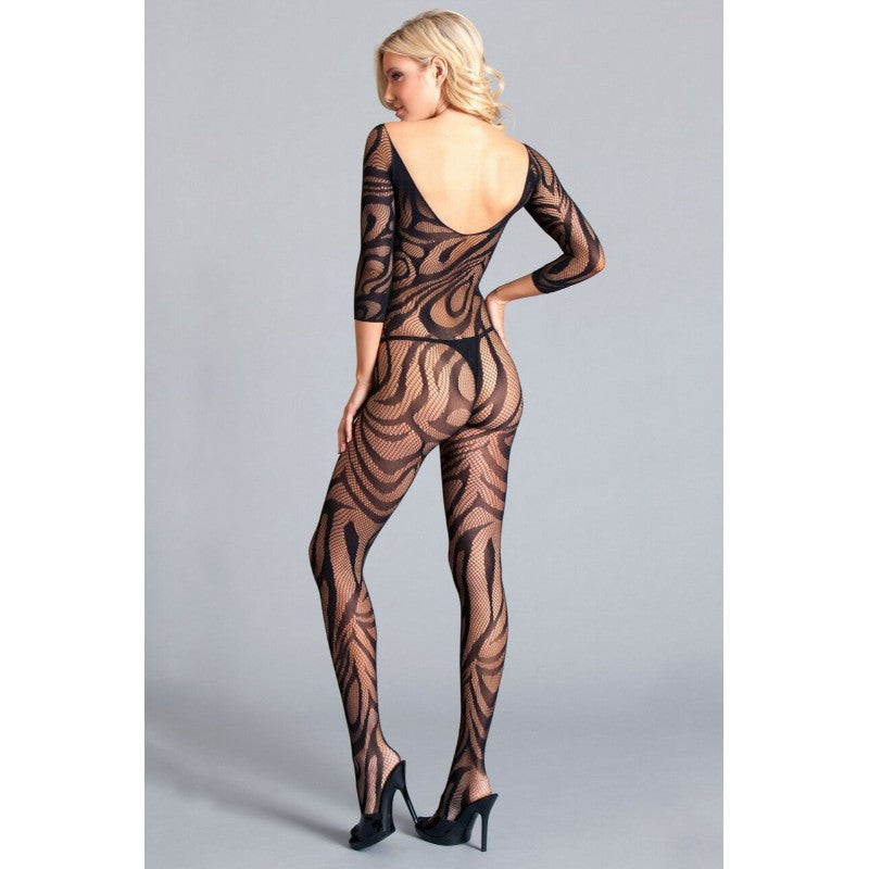 Scooped Neck Long Sleeve Crotchless Bodystocking