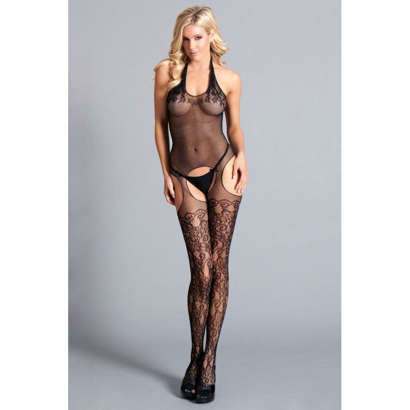 Halter Suspender Bodystocking With Lace Thigh Highs