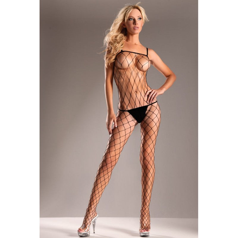 Lycra Diamond Net Seamless Crotchless Bodystocking Queen