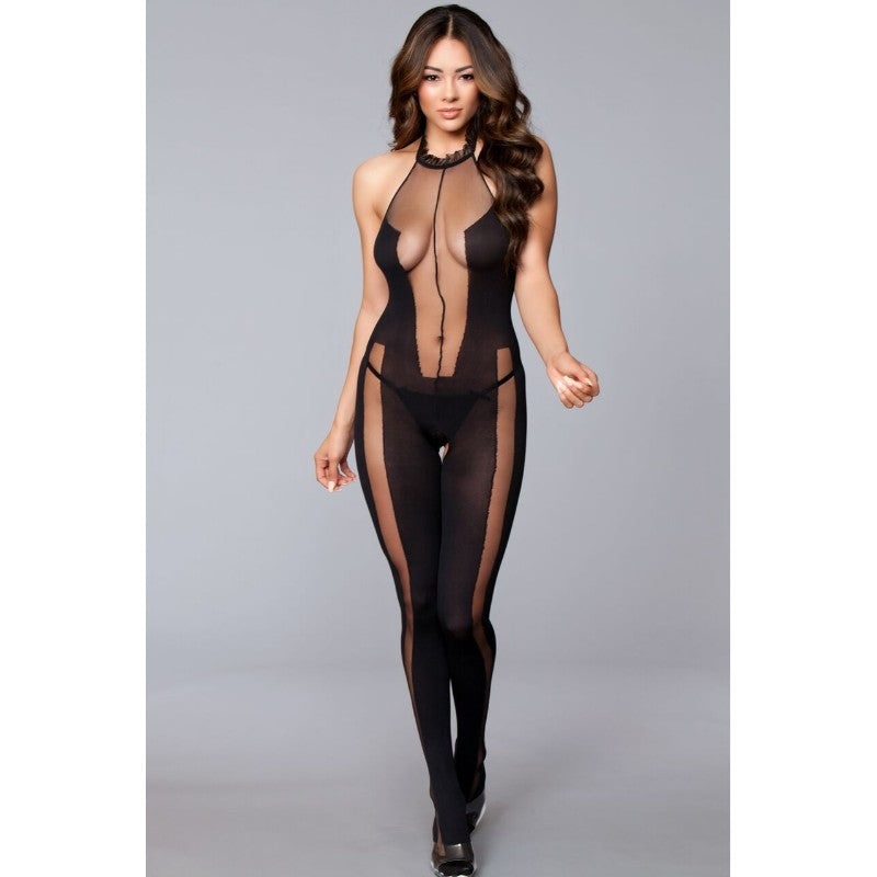Halter Neck Crotchless Bodystocking With Cut Outs