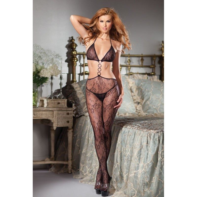 Lace Cut Out Bodystocking With Halter Top