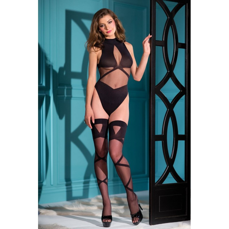 Woven Teddy With Front Straps & Matching Thigh Highs