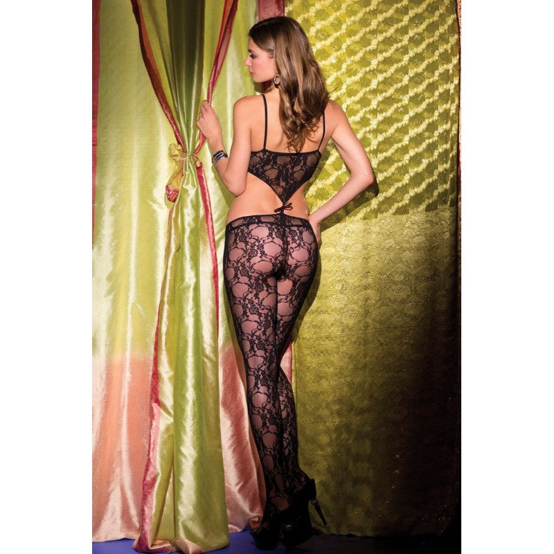 Lace Crotchless Bodystocking With Cut Out Front