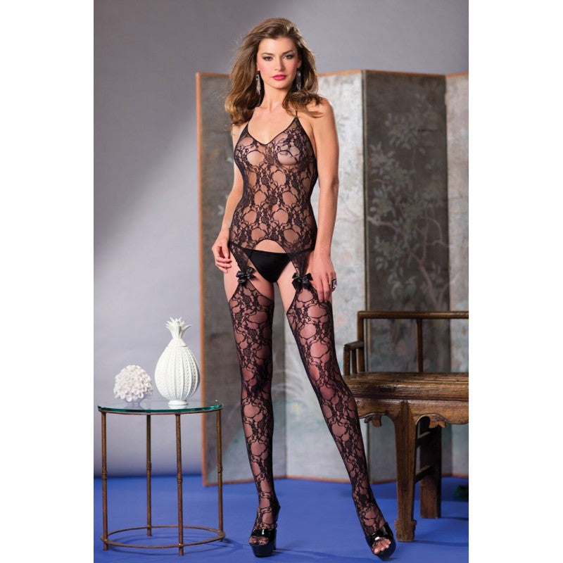 Suspender Bodystocking With Bow