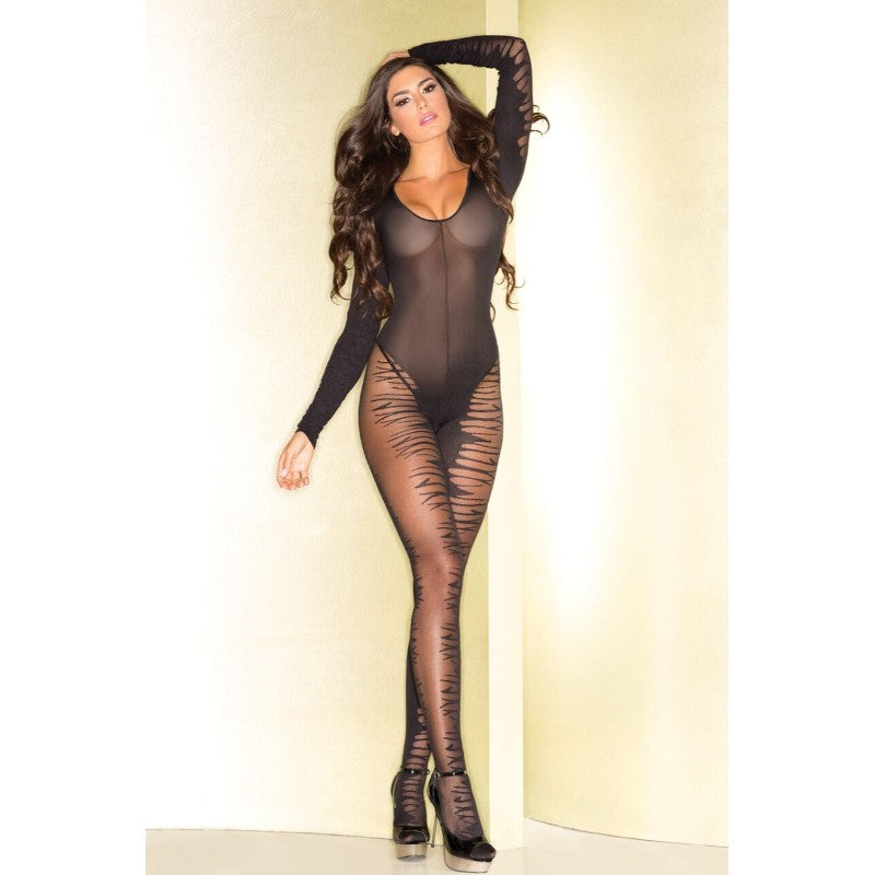 Sheer Open Crotch Flame Bodystocking