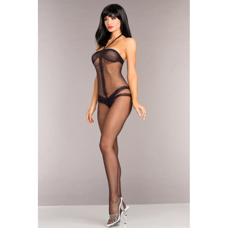Opaque Halter Neck Crotchless Bodystocking