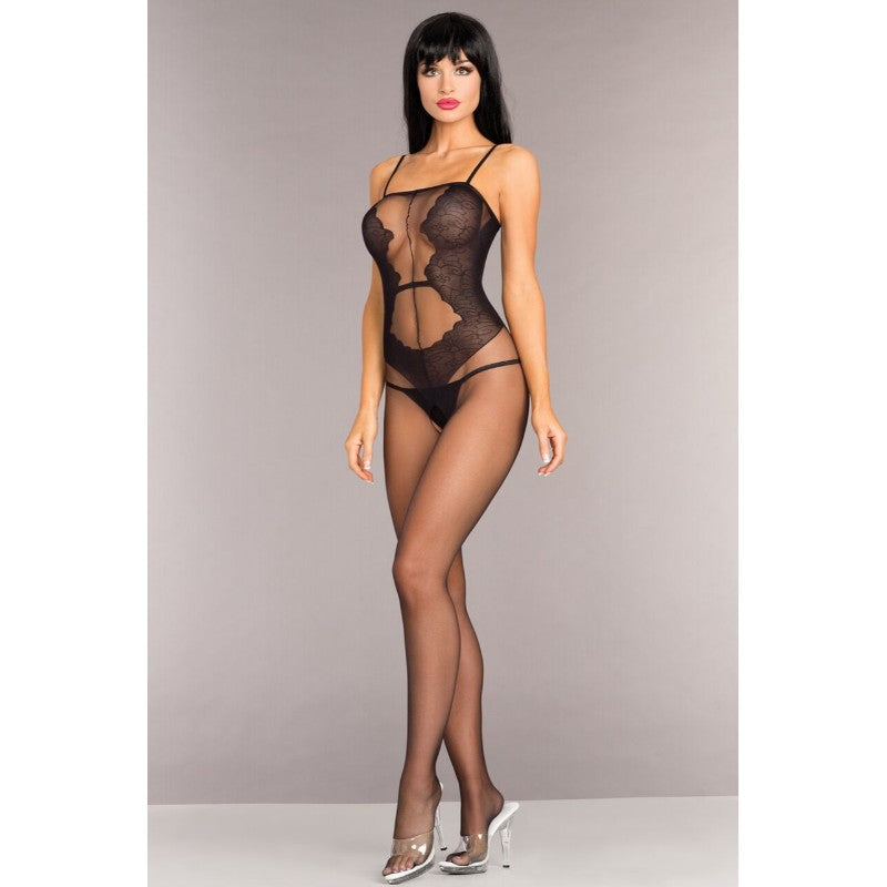 Opaque Crotchless Bodystocking With Lace