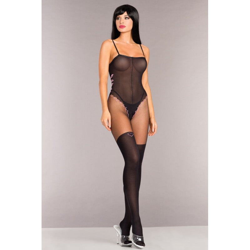 Opaque Bodystocking With Thigh Highs