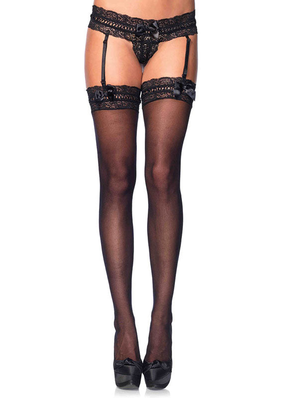 Stretch Lace Garter G-String With Inter-Woven Ribbon And Stocking at Love Shop