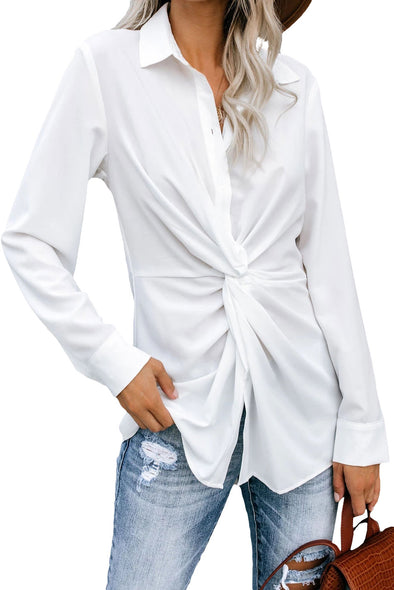 White Button Down Twist Blouse