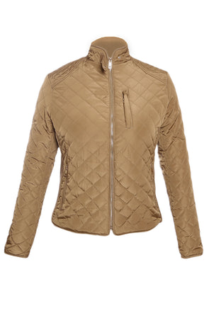 Khaki Quilted High Neck Cotton Jacket
