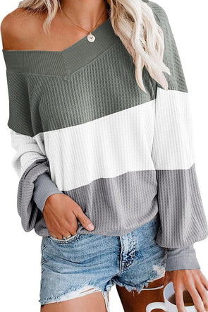 Green Oversized Off Shoulder Batwing Sleeve Tops