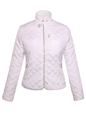 White Quilted High Neck Cotton Jacket