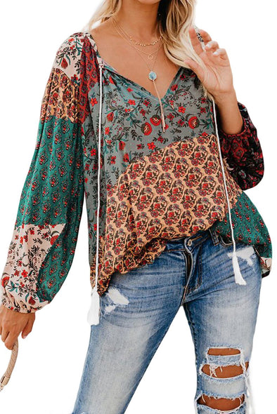 Multicolor Floral Print Peasant Blouse