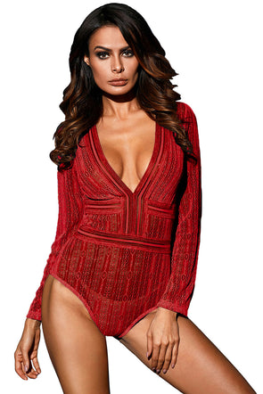 Red Deep V Neck Long Sleeve Bodysuit with Open Back