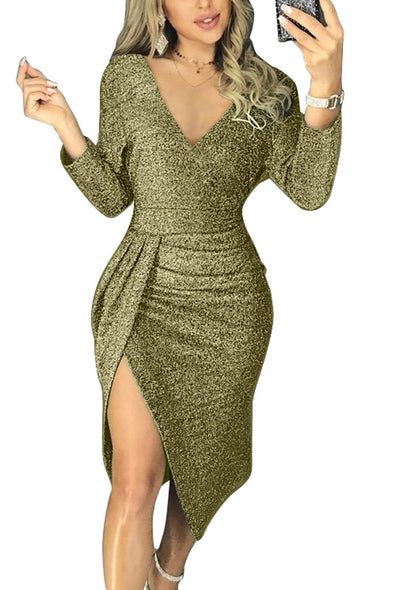 Green Glitter Ruched Thigh Slit Party Metallic Dress