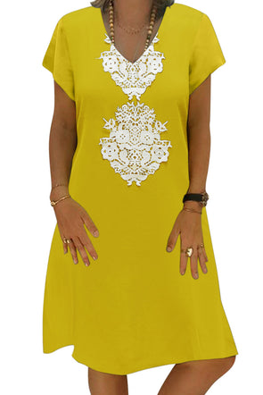 Yellow Summer Tribal Print V-Neck Shift Casual Dress