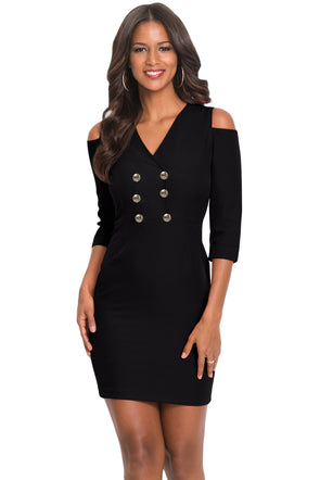 Black Cold Shoulder Sleeved Bodycon Mini Dress