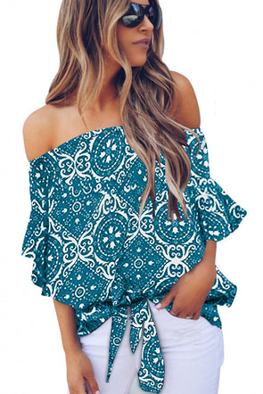 Sky Blue Bohemian Floral Print Off The Shoulder Blouse