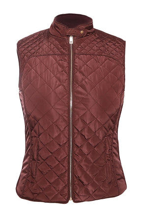 Burgundy High Neck Cotton Quilted Vest Coat