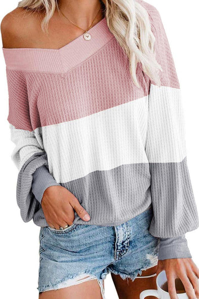 Pink Oversized Off Shoulder Batwing Sleeve Tops