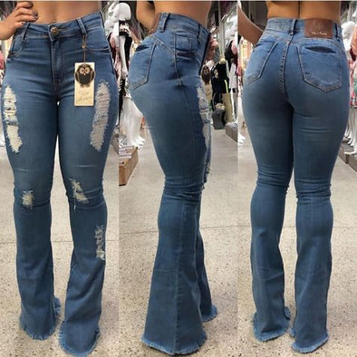 2020 Woman Casual Mid Waist Skinny Hole Ripped Jeans for Women Fashion Denim Blue Pants Streetwear Plus Size jeans
